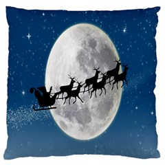 Santa Claus Christmas Fly Moon Night Blue Sky Large Flano Cushion Case (two Sides)
