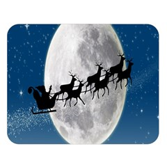 Santa Claus Christmas Fly Moon Night Blue Sky Double Sided Flano Blanket (large)