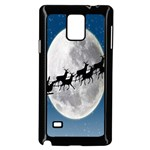 Santa Claus Christmas Fly Moon Night Blue Sky Samsung Galaxy Note 4 Case (Black) Front