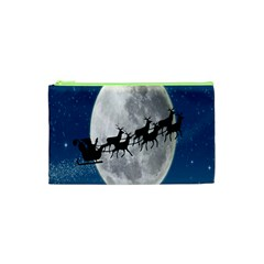 Santa Claus Christmas Fly Moon Night Blue Sky Cosmetic Bag (xs)