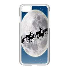 Santa Claus Christmas Fly Moon Night Blue Sky Apple Iphone 7 Seamless Case (white)