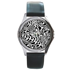 Psychedelic Zebra Pattern Black Round Metal Watch by Alisyart
