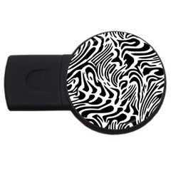 Psychedelic Zebra Pattern Black Usb Flash Drive Round (2 Gb) by Alisyart