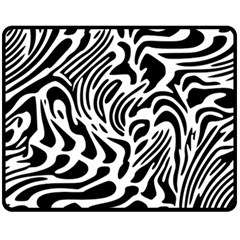 Psychedelic Zebra Pattern Black Fleece Blanket (medium)