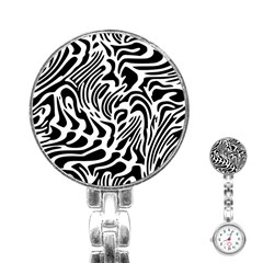 Psychedelic Zebra Pattern Black Stainless Steel Nurses Watch by Alisyart