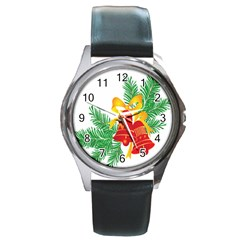New Year Christmas Bells Tree Round Metal Watch by Alisyart