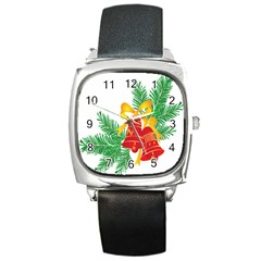 New Year Christmas Bells Tree Square Metal Watch by Alisyart