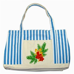 New Year Christmas Bells Tree Striped Blue Tote Bag