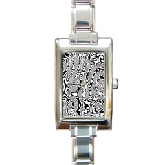 Psychedelic Zebra Black Circle Rectangle Italian Charm Watch by Alisyart