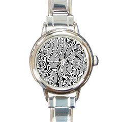 Psychedelic Zebra Black Circle Round Italian Charm Watch by Alisyart