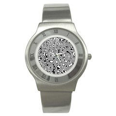 Psychedelic Zebra Black Circle Stainless Steel Watch by Alisyart