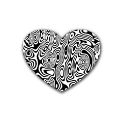 Psychedelic Zebra Black Circle Heart Coaster (4 Pack)