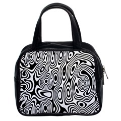 Psychedelic Zebra Black Circle Classic Handbags (2 Sides)