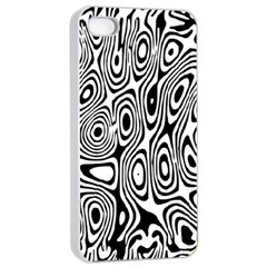 Psychedelic Zebra Black Circle Apple Iphone 4/4s Seamless Case (white) by Alisyart