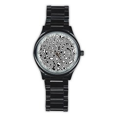 Psychedelic Zebra Black Circle Stainless Steel Round Watch by Alisyart