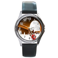 Santa Claus Christmas Moon Night Round Metal Watch by Alisyart