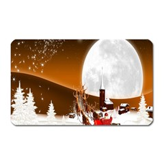 Santa Claus Christmas Moon Night Magnet (rectangular)