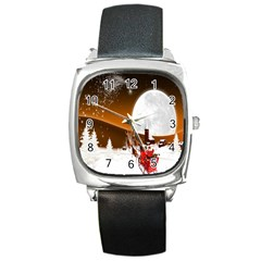 Santa Claus Christmas Moon Night Square Metal Watch