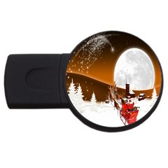 Santa Claus Christmas Moon Night Usb Flash Drive Round (4 Gb) by Alisyart