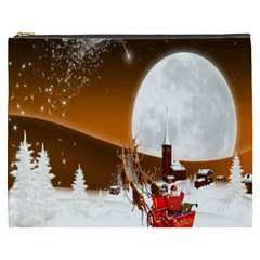 Santa Claus Christmas Moon Night Cosmetic Bag (xxxl)