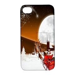Santa Claus Christmas Moon Night Apple Iphone 4/4s Hardshell Case With Stand