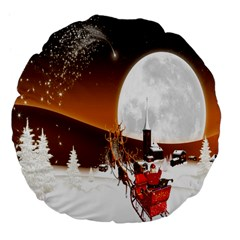 Santa Claus Christmas Moon Night Large 18  Premium Flano Round Cushions by Alisyart