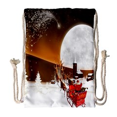 Santa Claus Christmas Moon Night Drawstring Bag (large)