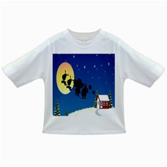 Santa Claus Christmas Sleigh Flying Moon House Tree Infant/toddler T-shirts by Alisyart