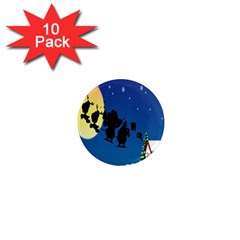 Santa Claus Christmas Sleigh Flying Moon House Tree 1  Mini Magnet (10 Pack)  by Alisyart