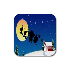 Santa Claus Christmas Sleigh Flying Moon House Tree Rubber Square Coaster (4 Pack)  by Alisyart