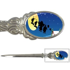 Santa Claus Christmas Sleigh Flying Moon House Tree Letter Openers by Alisyart