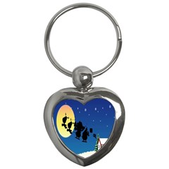 Santa Claus Christmas Sleigh Flying Moon House Tree Key Chains (heart)
