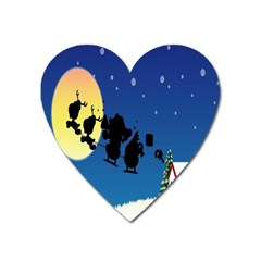 Santa Claus Christmas Sleigh Flying Moon House Tree Heart Magnet by Alisyart