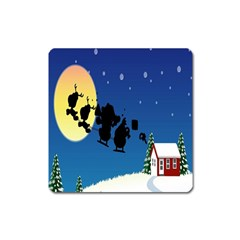 Santa Claus Christmas Sleigh Flying Moon House Tree Square Magnet by Alisyart