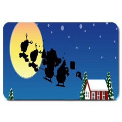 Santa Claus Christmas Sleigh Flying Moon House Tree Large Doormat
