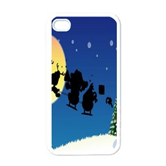 Santa Claus Christmas Sleigh Flying Moon House Tree Apple Iphone 4 Case (white) by Alisyart