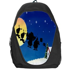 Santa Claus Christmas Sleigh Flying Moon House Tree Backpack Bag