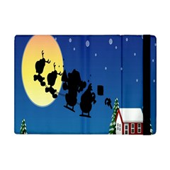 Santa Claus Christmas Sleigh Flying Moon House Tree Apple Ipad Mini Flip Case by Alisyart