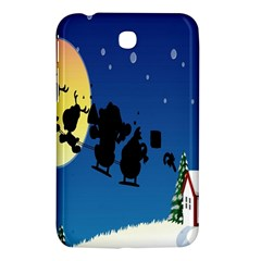 Santa Claus Christmas Sleigh Flying Moon House Tree Samsung Galaxy Tab 3 (7 ) P3200 Hardshell Case  by Alisyart