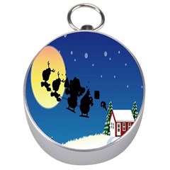 Santa Claus Christmas Sleigh Flying Moon House Tree Silver Compasses