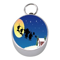 Santa Claus Christmas Sleigh Flying Moon House Tree Mini Silver Compasses