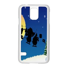 Santa Claus Christmas Sleigh Flying Moon House Tree Samsung Galaxy S5 Case (white)