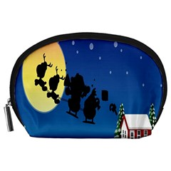 Santa Claus Christmas Sleigh Flying Moon House Tree Accessory Pouches (large)