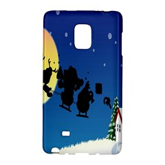 Santa Claus Christmas Sleigh Flying Moon House Tree Galaxy Note Edge