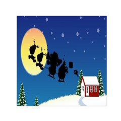 Santa Claus Christmas Sleigh Flying Moon House Tree Small Satin Scarf (square)