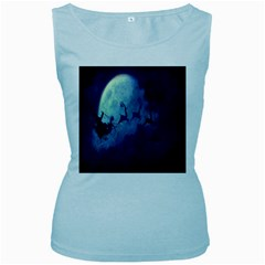 Santa Claus Christmas Night Moon Happy Fly Women s Baby Blue Tank Top