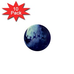 Santa Claus Christmas Night Moon Happy Fly 1  Mini Magnet (10 Pack)  by Alisyart