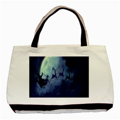 Santa Claus Christmas Night Moon Happy Fly Basic Tote Bag