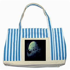 Santa Claus Christmas Night Moon Happy Fly Striped Blue Tote Bag by Alisyart