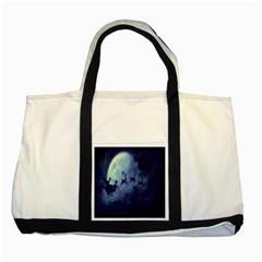 Santa Claus Christmas Night Moon Happy Fly Two Tone Tote Bag